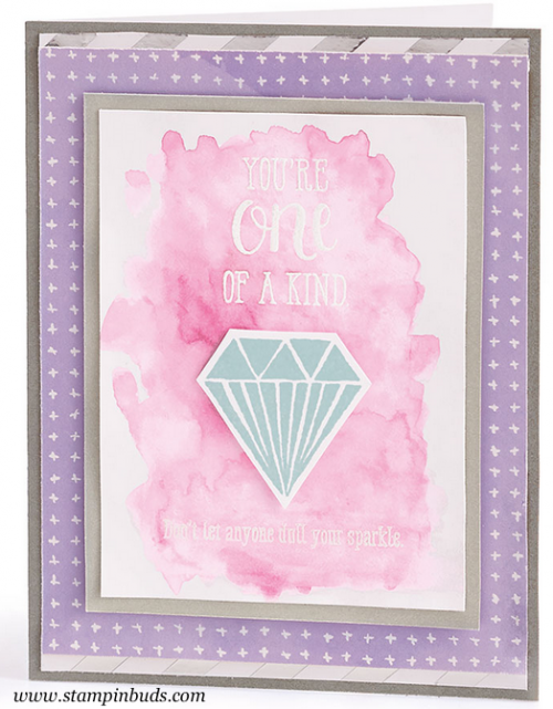 Watercolor Diamond Card