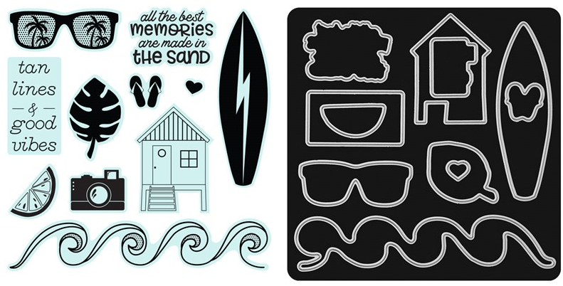 Z3745 Summer Vibes Scrapbooking Stamp Set and Thin Cuts