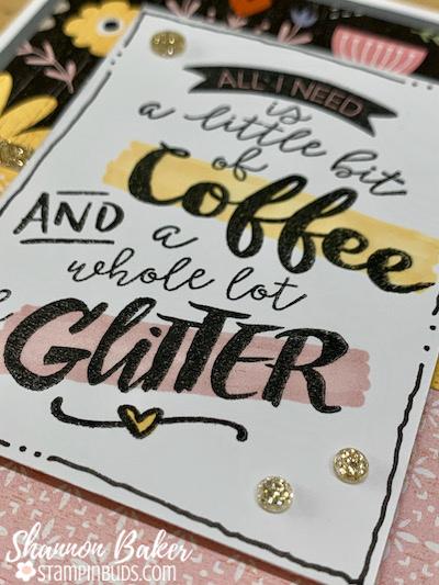 Coffee & Glitter Card - Close Up