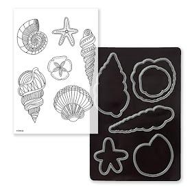 C1664 or CC1155 Swirly Seashells Stamp Set + Thin Cuts